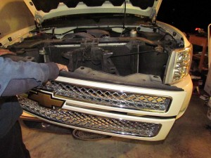 installing HID headlights grill off two